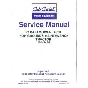 Cub Cadet Service Manual for No. 345 Mower Deck