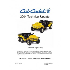 Cub Cadet Big Country 6 x 2 2004 Technical Update