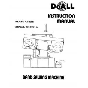 Doall Bandsaw Operators Manual Model No. C-650M