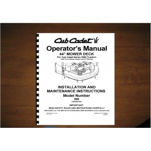 "Cub Cadet 44"" Mower Deck Operator's Manual Model 190-208-100"