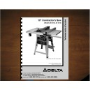 "Delta 10"" Table Saw Instruction Manual Model No. 36-441B - 36-451X"