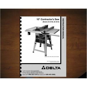 "Delta 10"" Table Saw Instruction Manual Model No. 36-441B - 36-451X"