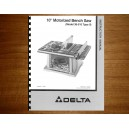 "Delta 10"" Table Saw Instruction Manual Model No.36-510"
