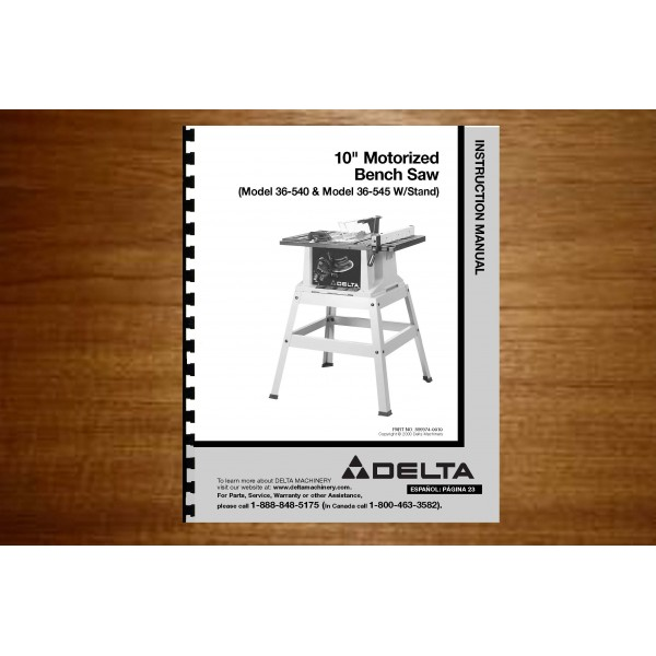 Delta 10 Quot Table Saw Instruction Manual Model 36 540 36 545