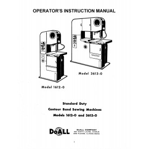 DoAll Band Saw Operators Manual Model No. 1612·0 - 3613-0