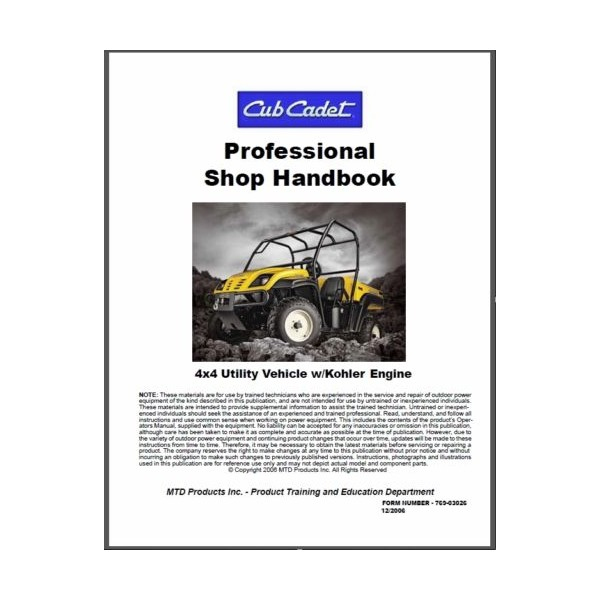 cub cadet utility vehicle w  kohler engine professional shop service manual