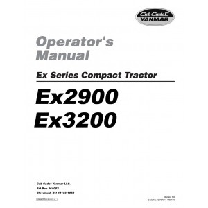 Cub Cadet Yanmar Operator Manual Model EX2900 & EX3200