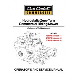 Cub Cadet Hydrostatic Commercial ZeroTurnService Manual Enforcer 44, 48,54