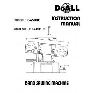 Doall Bandsaw Operators Manual Model No. C-650NC