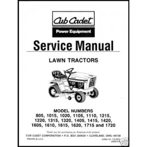 Cub Cadet Service Manual 805 thru 1730 Form No 772-3870