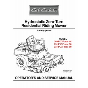 Cub Cadet Hydrostatic Residential Zero Turn Z-Force 44-50-60 Operation and Service Manual