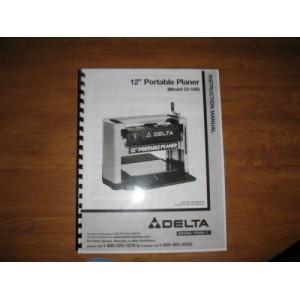 "Delta 12"" Portable Planer Instruction Manual for Model No. 22-540"