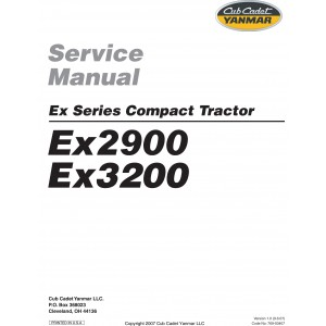 Cub Cadet Yanmar Service Manual Model EX2900 & EX3200