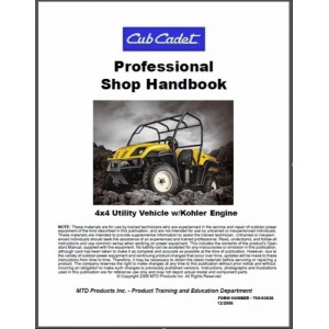 Cub Cadet Utility Vehicle w/Kohler Engine Professional Shop Service Manual