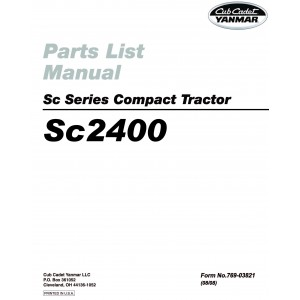 Cub Cadet Yanmar Sc Series Parts Manual Model Sc2400