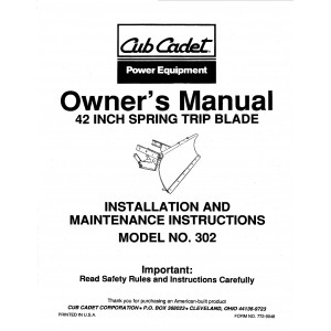"Cub Cadet 42"" Spring Trip Blade Owners Manual Model No. 190-302-100"