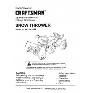 "Craftsman 46"" Snow Thrower Attach. Manual No 842.242561"